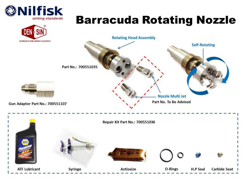 Barracuda rotating nozzle